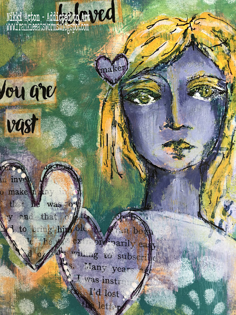 Dina Wakley Interesting Faces Journal Page by Nikki Acton