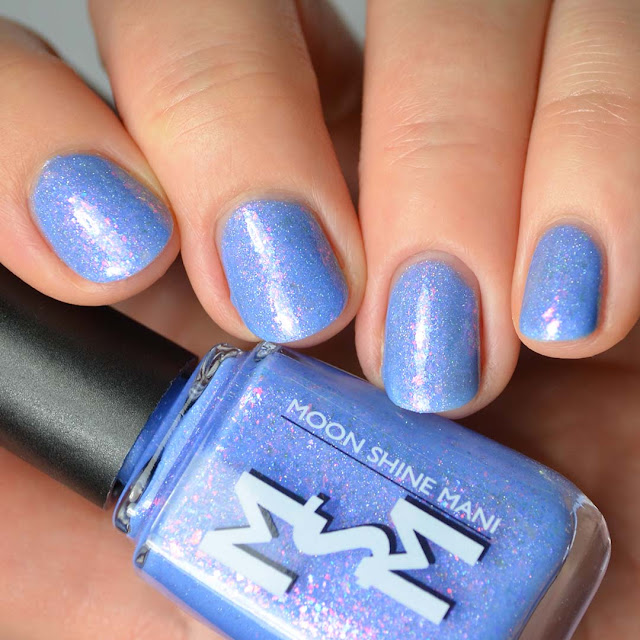 periwinkle nail polish with shimmer and flakies swatch