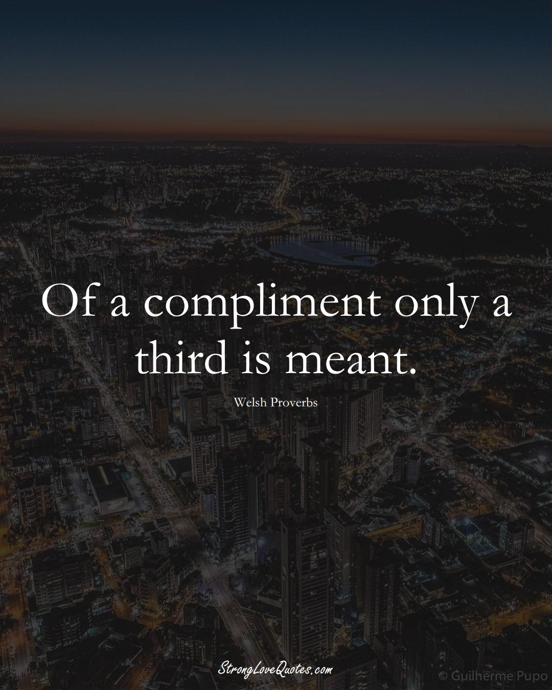 Of a compliment only a third is meant. (Welsh Sayings);  #EuropeanSayings