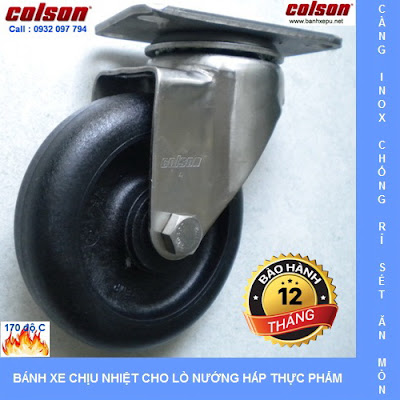 Bánh xe chịu nhiệt càng inox 304 xoay Colson Caster | 2-4456-53HT banhxedayhang.net