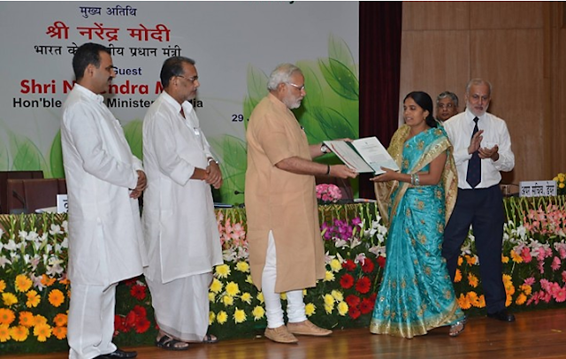 Krishna Yadav has received many awards:  In 2013, at the Vibrant Gujarat conference, the then Chief Minister Shri Narendra Modi had presented him a check of 51 thousand rupees as a farmer's honor.
