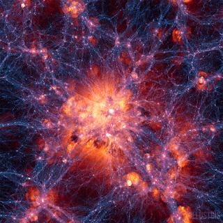 Proyección a gran escala de la simulación Illustris, centrada en un cluster muy masivo. Muestra la densidad de materia oscura superpuesto al campo de velocidades del gas.