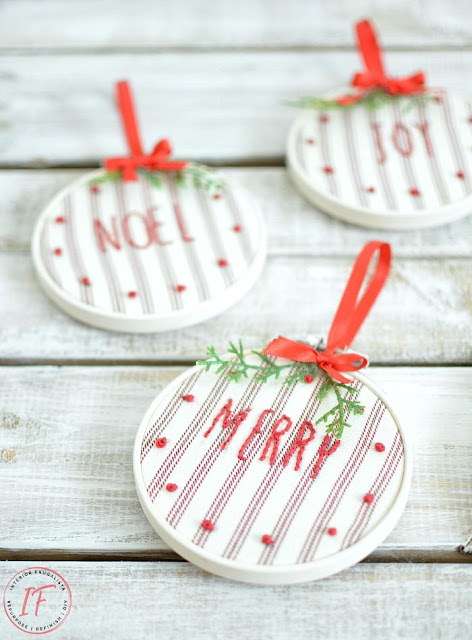 Farmhouse ticking stripe embroidered hoop Christmas ornaments