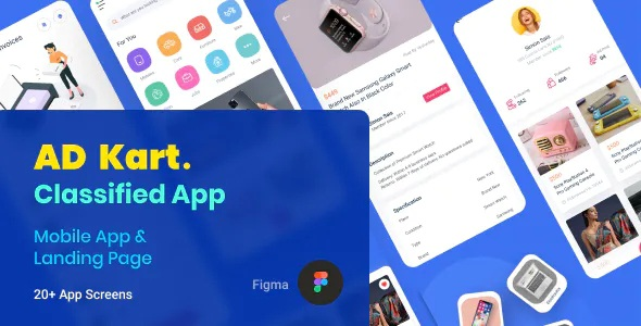 Best Classified Ad Mobile App and Landing Page Figma Template