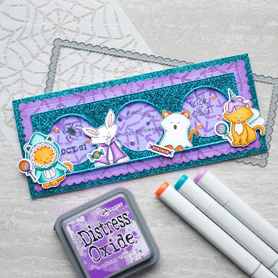 Amy T. features Slimline Frames & Portholes, Spiderweb, Boo Crew, Newton's Costume Party, and Hoppy Halloween by Newton's Nook Designs; #newtonsnook