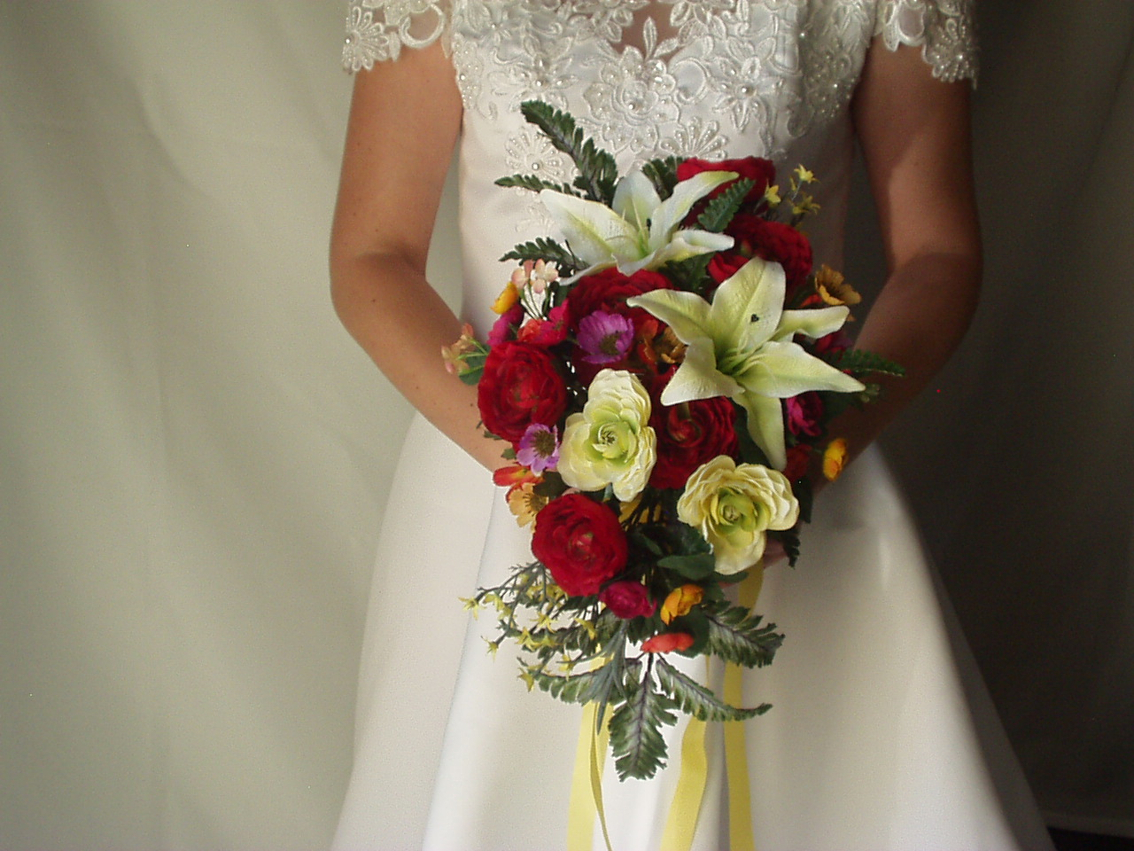 Silk Wedding Flowers Black And Yellow Baground