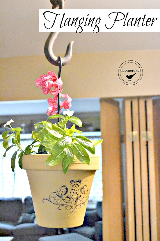 Wrought Iron Hanging Planter pot with a DIY transfer