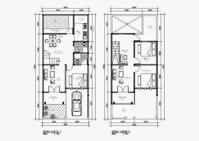 Sketsa Denah Rumah 2 lantai minimalis