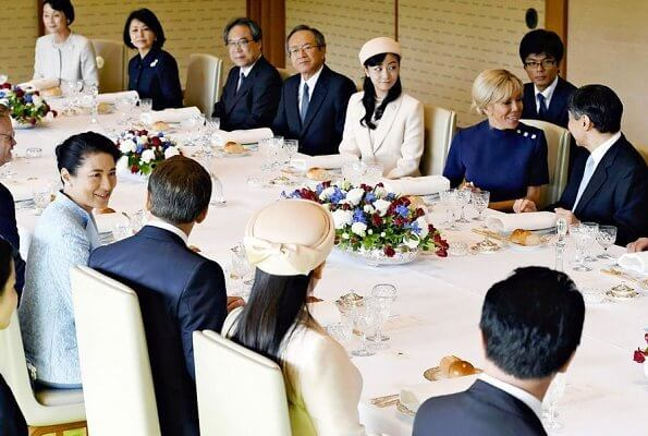 Emperor Naruhito and Empress Masako met with French President Emmanuel Macron and his wife Brigitte Macron