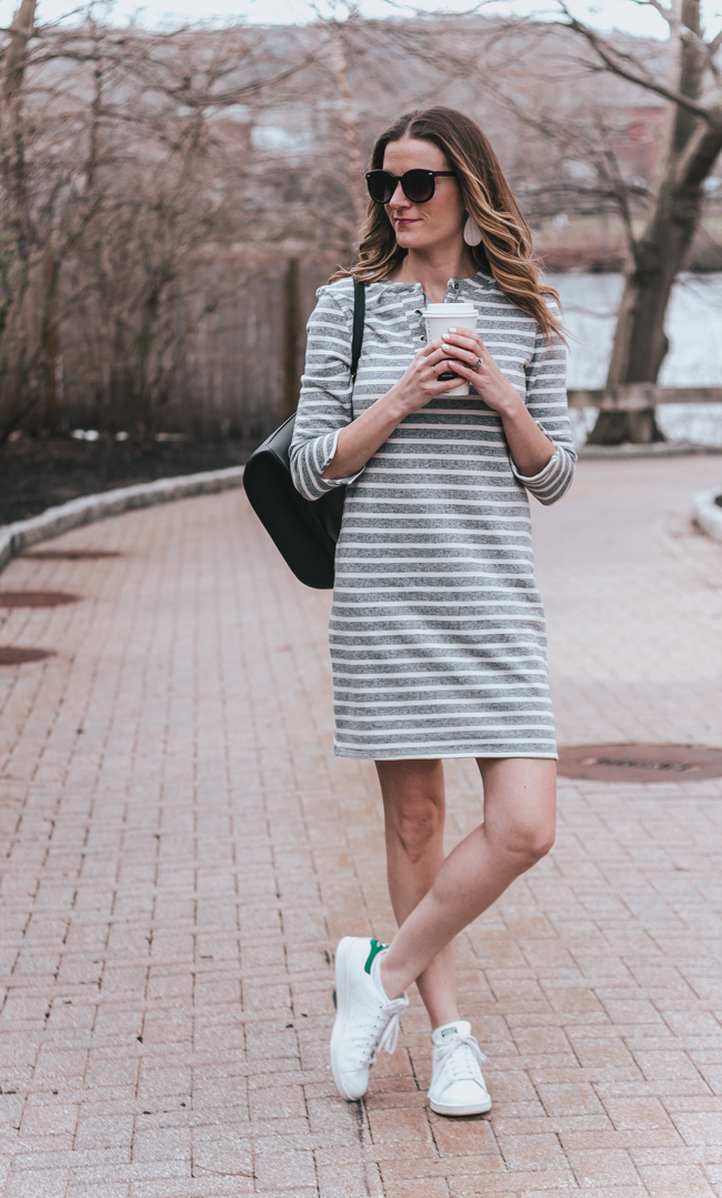 Lace Front Sweatshirt Dress #lacefrontdress #stripedress