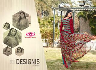 KSM Vanya Glaze Cotton Dress Material WithChiffon Dupatta