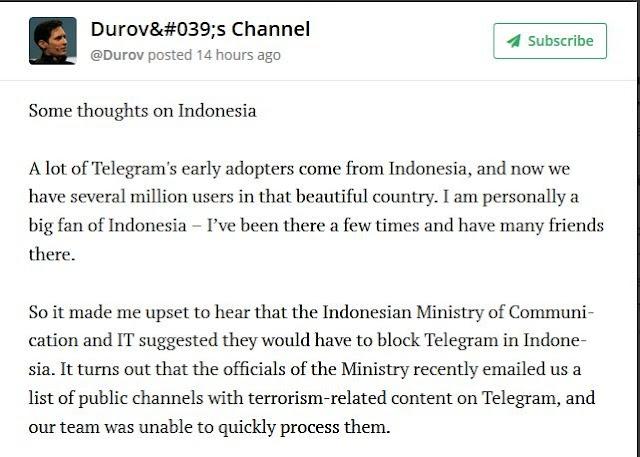 Ini Tanggapan Pavel Durov Soal Pemblokiran Telegram: Menyesal Karena Terlambat Merespon