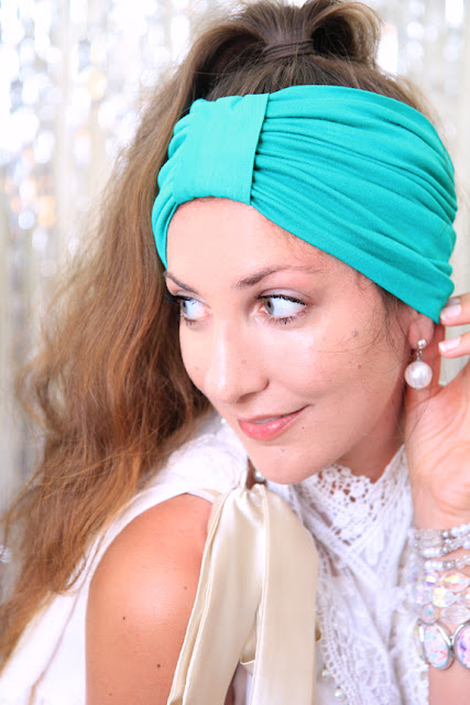 Turban Headband in Jade by Mademoiselle Mermaid