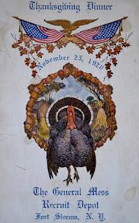 Thanksgiving Dinner Menu / Fort Slocum / 1920