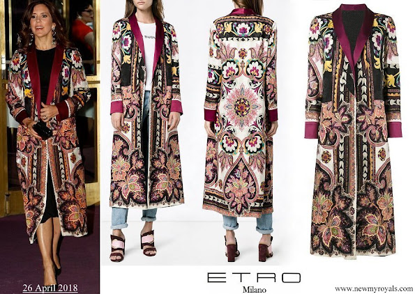 Crown Princess Mary wore ETRO Reversible robe coat