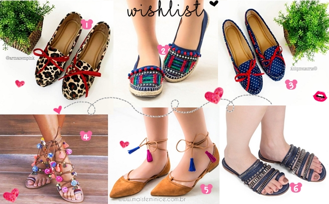 Wish list - Mocassim, Oxford, rasteirinha