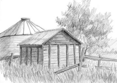 rural granary pencil graphite sketch abandoned farm