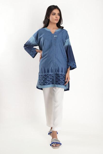 Khaadi Blue printed kurta winter pret women collection