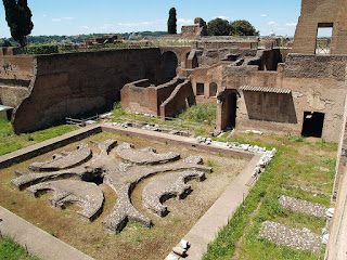 A section of the visible remains of the  Domus Augustana on Rome's Palatine Hill