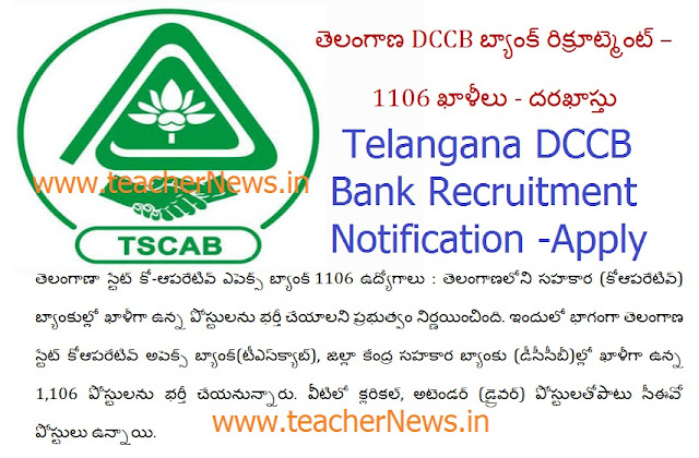 Telangana DCCB Bank Jobs 2018 Notification for 1106 Vacancies – Online Apply @ tscab.org