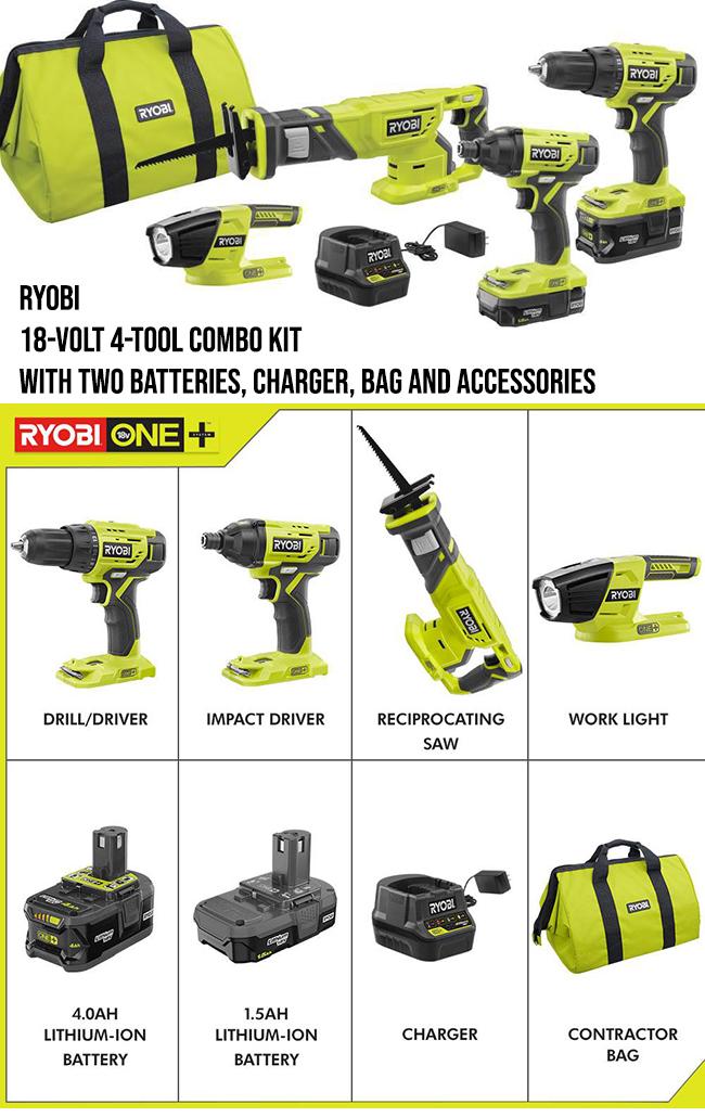 Ryobi tools combo kit