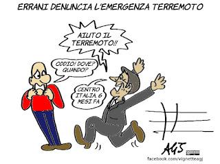 terremoto, errani, emergenza, ricostruzione, commissario, vignetta, satira