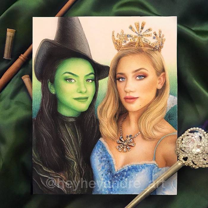 Camila Mendes and Lili Reinhart as Elphaba and Glinda