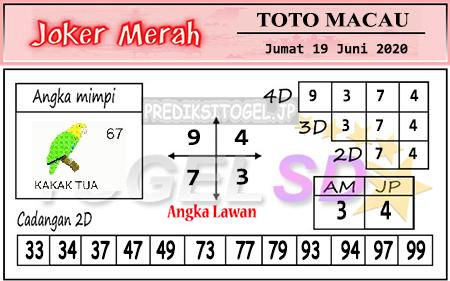 Prediksi Toto Macau Joker Merah Jumat 19 Juni 2020