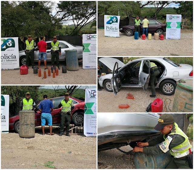 110 galones de gasolina de contrabando y tres vehículos se incautó la Policía en La Guajira