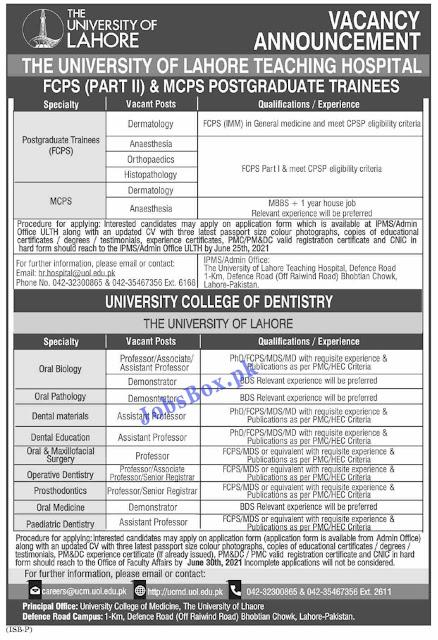 The University of Lahore UOL Jobs 2021 – www.uol.edu.pk