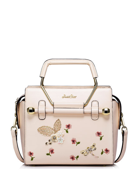 handbag pink leather floral