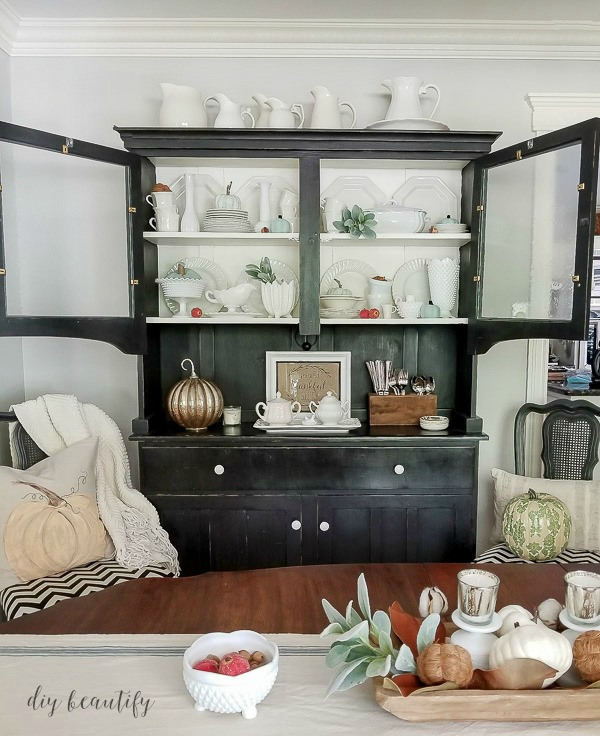 black hutch white dishes