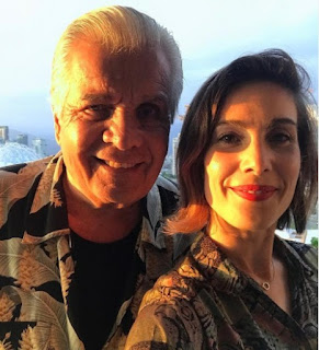 Carly Pope clicking selfie with her dad