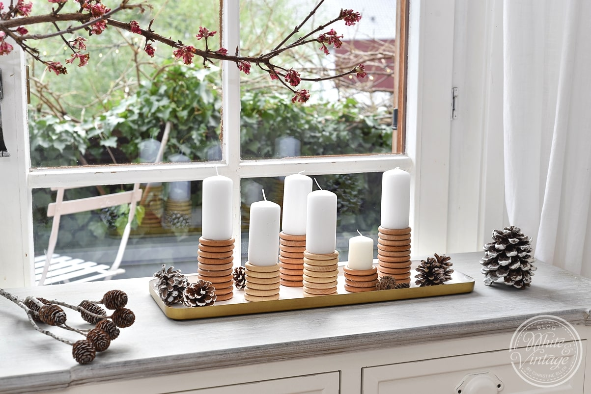 Upcycling Kerzenständer als Winterdeko.