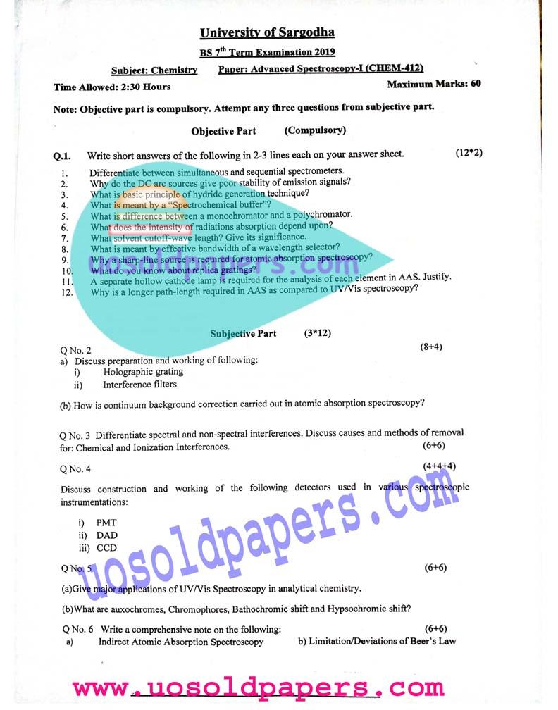 CHEM-412: Advanced Spectroscopy-I, BS Chemistry, Term System Exam