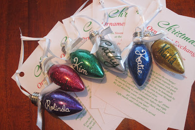 DIY glitter light bulb ornament