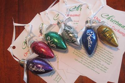 DIY glitter light bulb ornament
