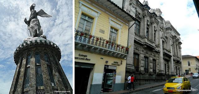 A Virgem Quiteña e uma rua do Centro Histórico de Quito