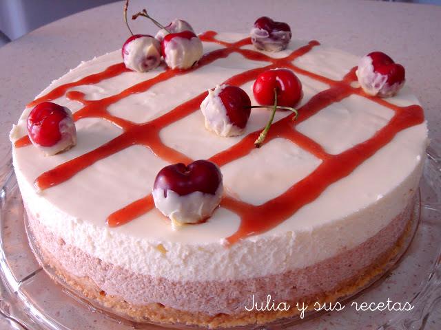 Tarta mousse de cerezas y chocolate blanco. Julia y sus recetas