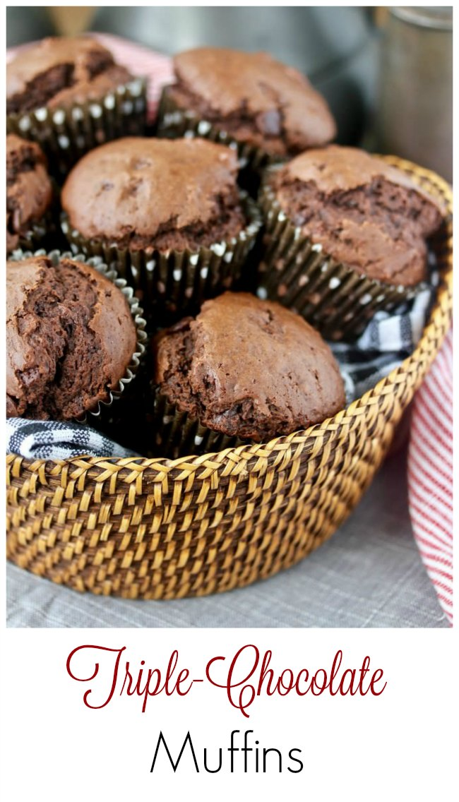 Triple Chocolate Muffins in a basket
