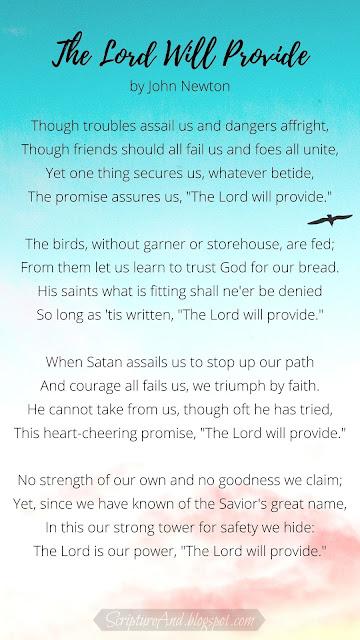 Bible verses for John Newton's hymn The Lord Will Provide | scriptureand.blogspot.com
