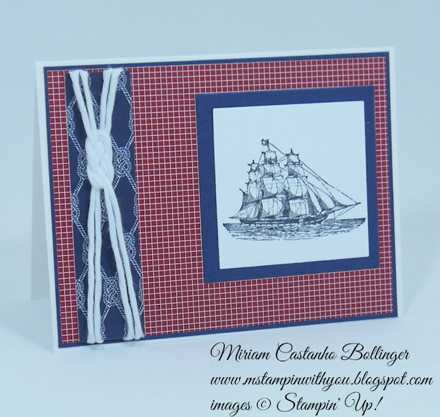 Miriam Castanho Bollinger, #mstampinwithyou, stampin up, demonstrator, dsc134, masculine card, maritime dsp, the open sea stamp set, painted blossoms cotton twine, su