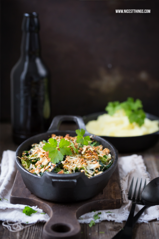 Savoy Cabbage Gratin with Pecans and Goat Cheese Recipe