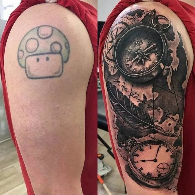 black tattoo cover up with color