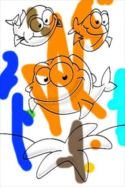 Kaksivuotiaan värityksiä tietokoneella - Two-year-old kid colouring images with a computer