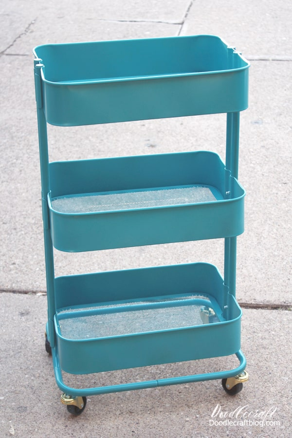Rolling Storage Cart painted mermaid teal with Colorshot paint and used for storing craft supplies