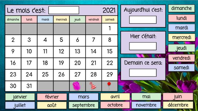 Le calendrier - mai 2021