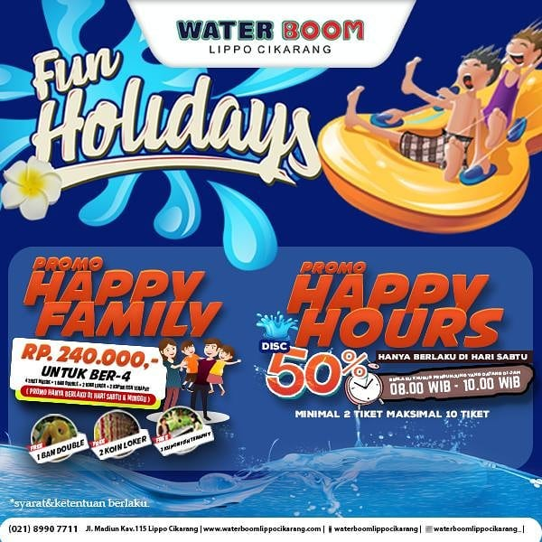 #WaterBoomLippoCikarang - #Promo Fun Holiday Happy Family & Happy Hour Oktober 2019