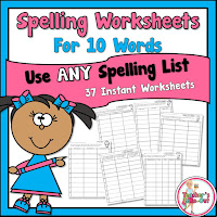 Spelling Worksheets using 10 spelling words