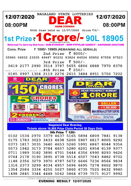 Nagaland State Lottery Sambad 12-07-2020 Today Result 8 PM